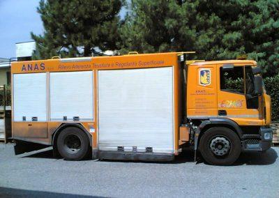 Camion de signalisation avec rideaux à enroulements